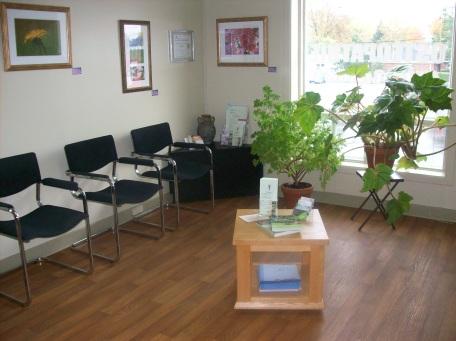 Salle d'attente pour les traitements d'acupuncture